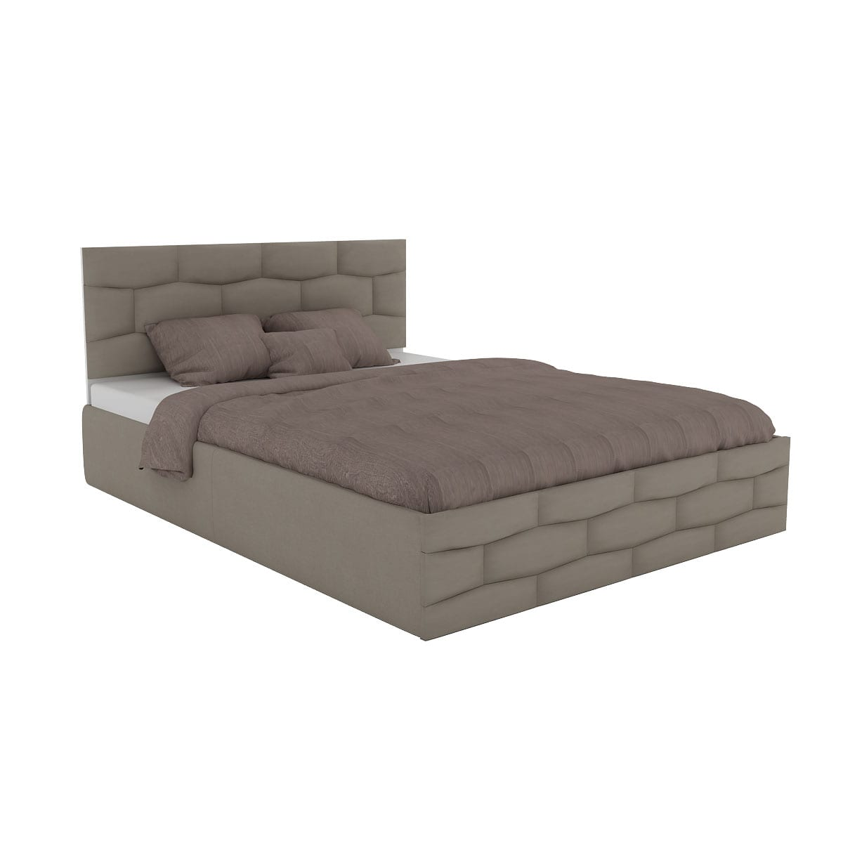 Hexa Cut Queen Size Upholstery Bed with Hydraulic Storage